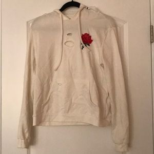 Distressed Rose Patch Hoodie